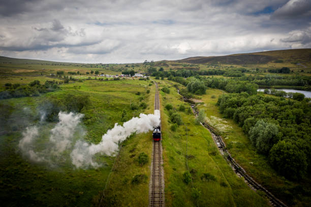 Aerial view of a Steam Train stock photo