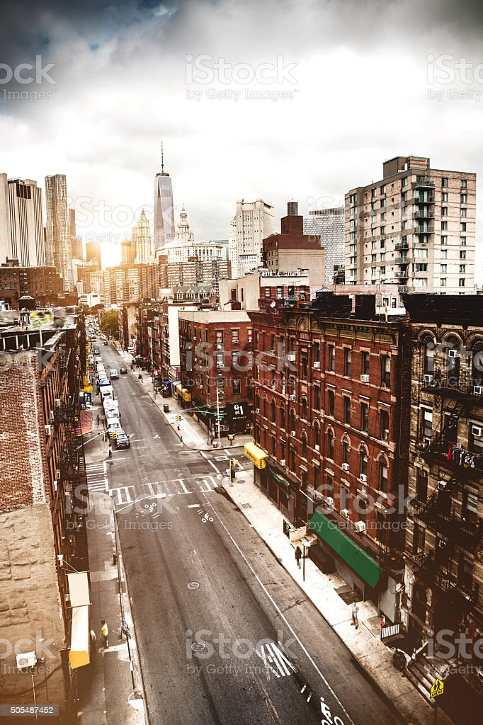 Aerial view of a street in Chinatown, New York stock photo