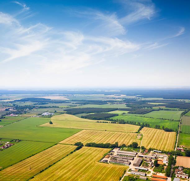 조감도 교외 지역, 농업학 - 브란덴부르크 주 뉴스 사진 이미지