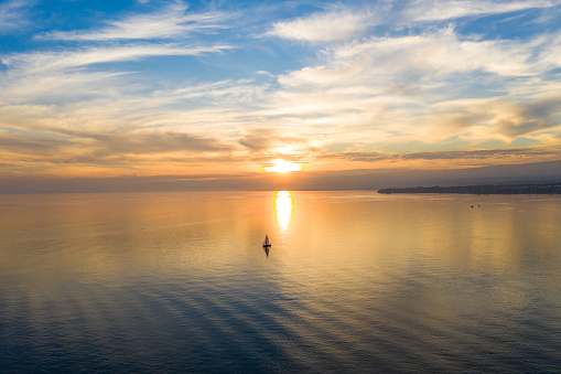 Aerial view of a Sunset on the Leman Lake in  Ouchy waterfront in  Lausanne, Switzerland