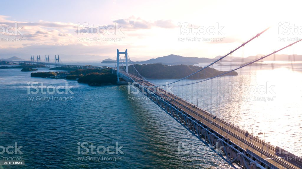 Aerial view of a sunset over the Great Seto bridge, Japan stock photo