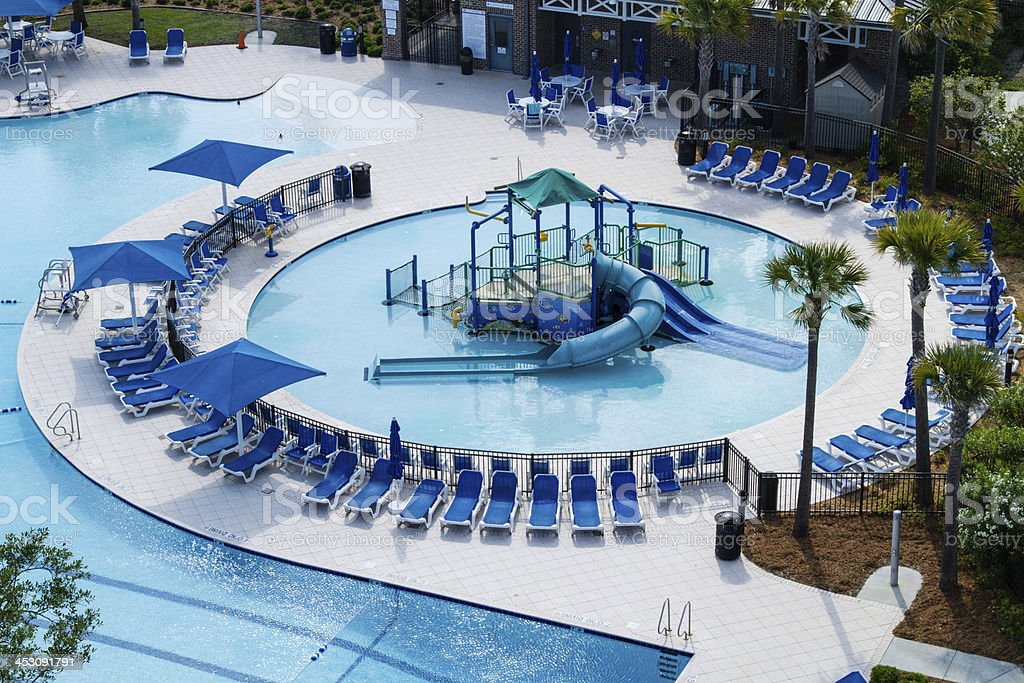 Aerial view of a swimming pool park. stock photo