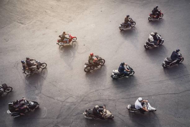 aerial view of a traffic in hanoi, vietnam - moto imagens e fotografias de stock