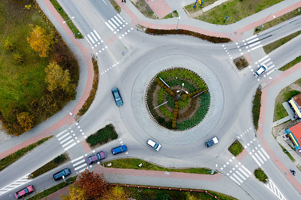 Aerial view of a traffic roundabout stock photo