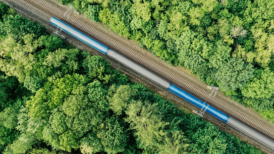 Diagonal composition of a fast train driving on a double railroad track amongst trees.