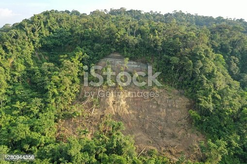 Aerial view of a tropical rainforest where a part of the mountain slide down and destroyed the forest