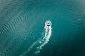 Aerial view of a tugboat in Hong Kong waters.