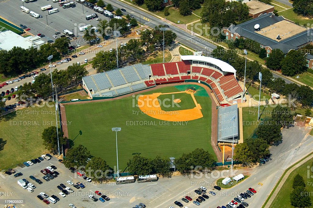 Aerial view of a Tuscaloosa baseball field. stock photo