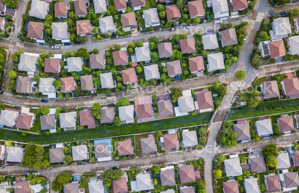 Aerial view of a typical  of Housing estate stock photo