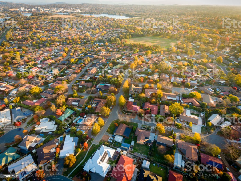 Aerial view of a typical suburb in Australia royalty-free stock photo