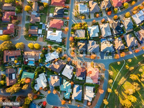 istock Aerial view of a typical suburb in Australia 834087898