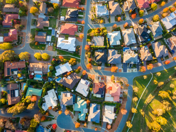 Aerial view of a typical suburb in Australia Typical Australian suburb from above in autumn residential district stock pictures, royalty-free photos & images