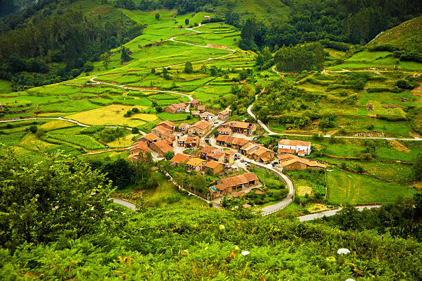 Aerial view of a typical town in Saja Valley Province of Santander, Cantabria, Spain. EOS 5D Mark II cantabria stock pictures, royalty-free photos & images
