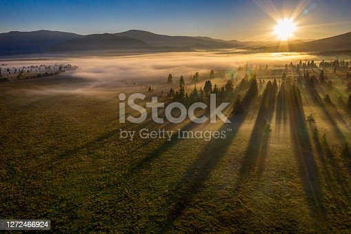 Aerial view of a magic sunrise in a valley and a forest in the early morning fog. Carpathian Mountains, Transylvania, Romania. Exact location is the area of Hargita.