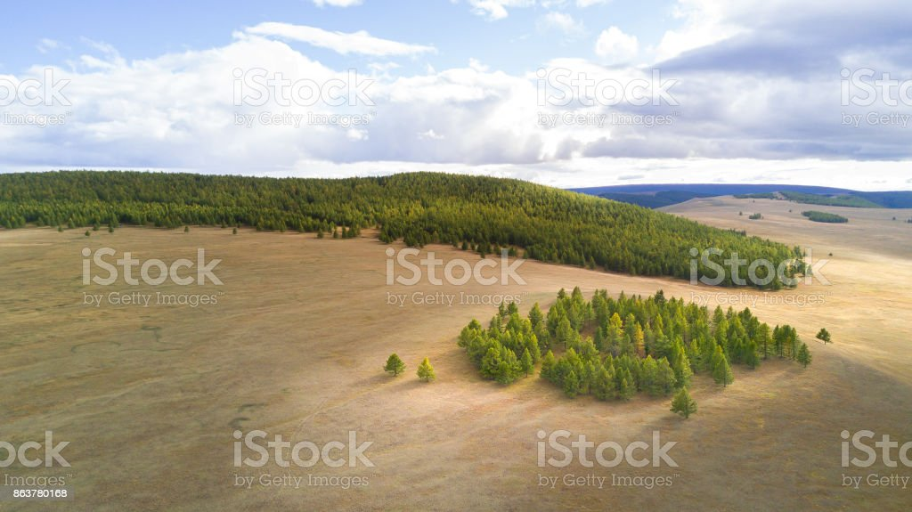 Aerial view of a vast landscape in Mongolia. stock photo