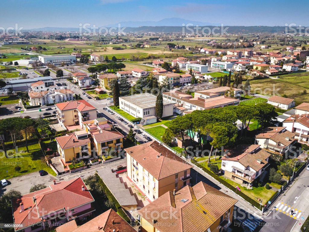 aerial view of a village in italy stock photo