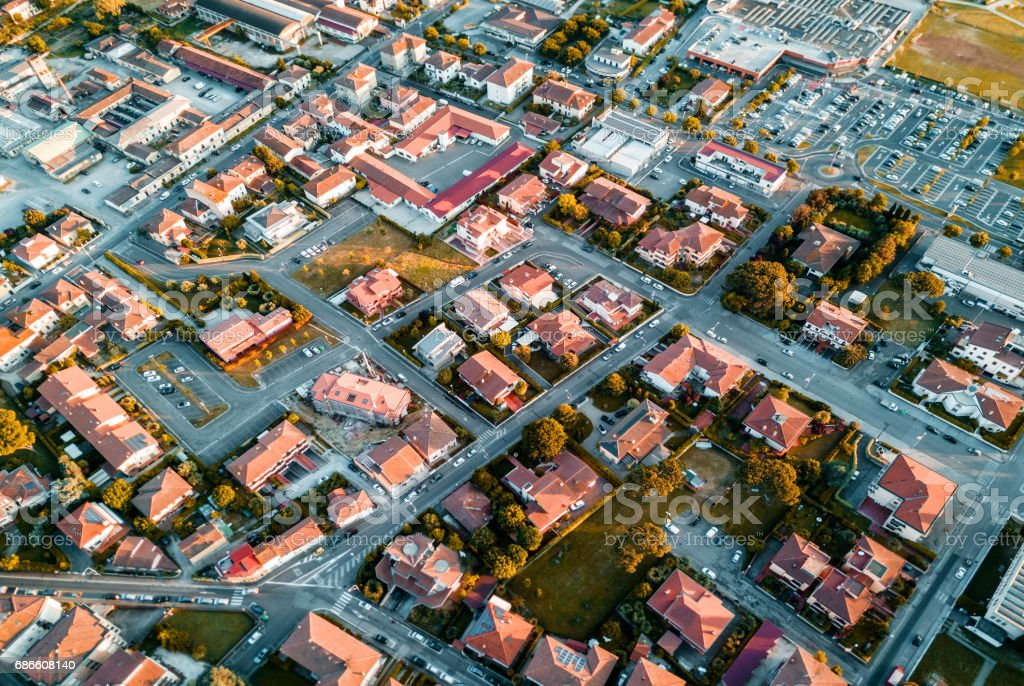 aerial view of a village in italy royalty-free stock photo