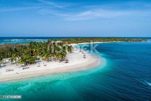 Aerial view of a white sand cay in the Caribbean sea with turquoise waters. Sombrero Cay in the Morrocoy National Park, Venezuela