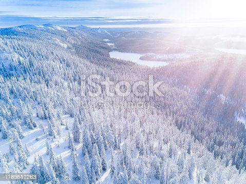 istock Aerial view of a winter mountains with snow covered forest in Finland 1185612263