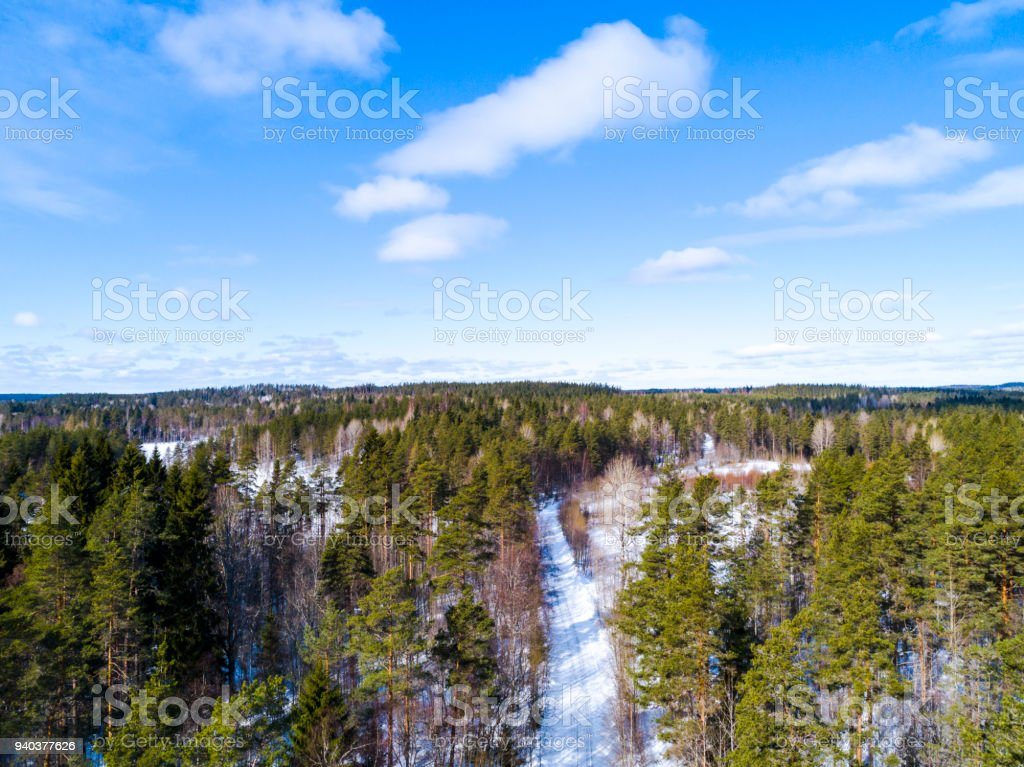 Aerial View Of A Winter Road Landscape Countryside Photography Snow Forest