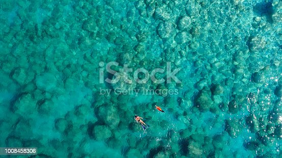istock Aerial view of a woman and her dog swimming in the clear waters of the greek sea 1008458306