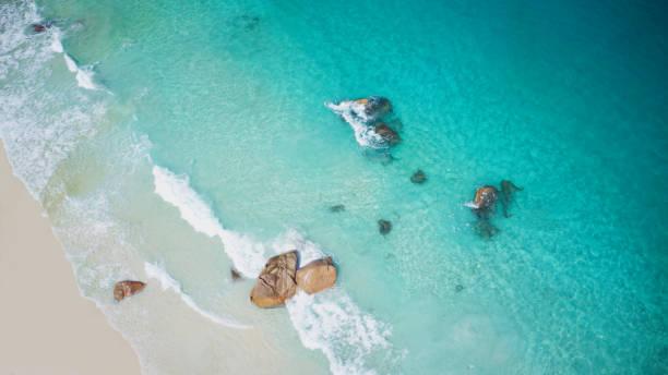 Aerial view of a wonderful beach on Seychelles, Praslin stock photo
