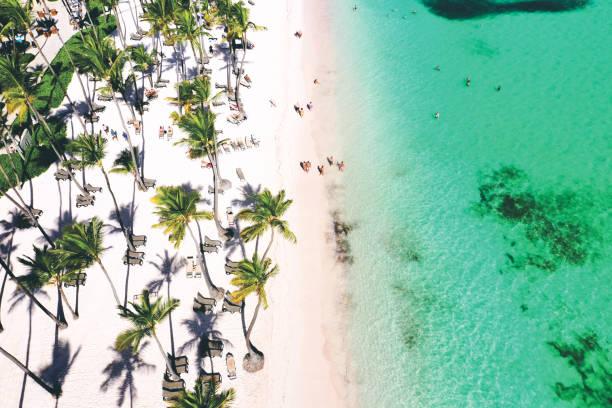 aerial view of a wonderful exotic tropical caribbean beach, Punta Cana, Dominican Republic stock photo