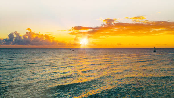 aerial view of a wonderful sunset on the caribbean island, La Romana, Dominican Republic stock photo