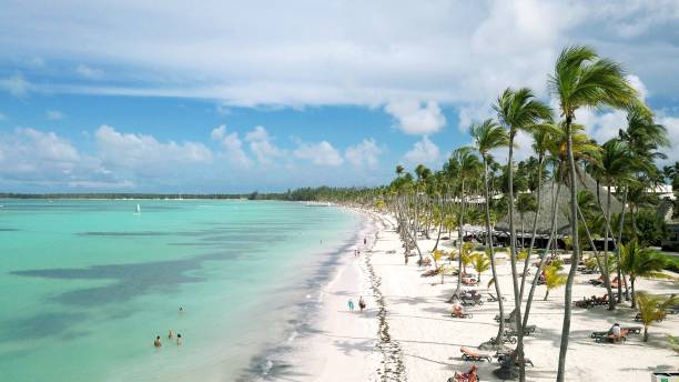 Aerial view of a wonderful tropical exotic caribbean beach in Punta Cana, Dominican Republic stock photo