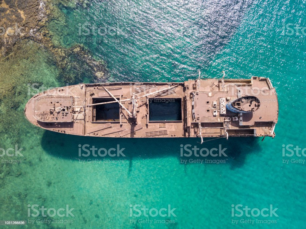 Aerial View Of A Wreck Of A Ship In The Atlantic Ocean Lanzarote