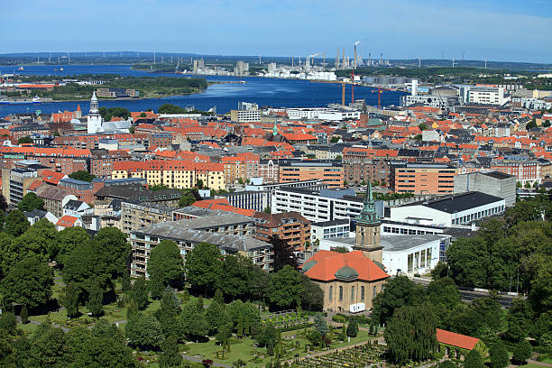 Aerial view of Aalborg, Denmark stock photo