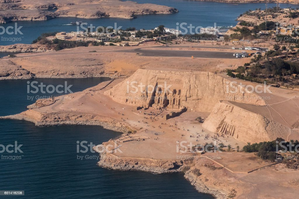 Aerial view of Abu Simbel, Nubia, Egypt. stock photo