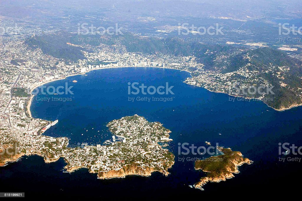 Aerial view of Acapulco, Mexico stock photo