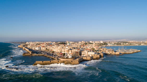 Aerial View of Acre Old City 2 stock photo