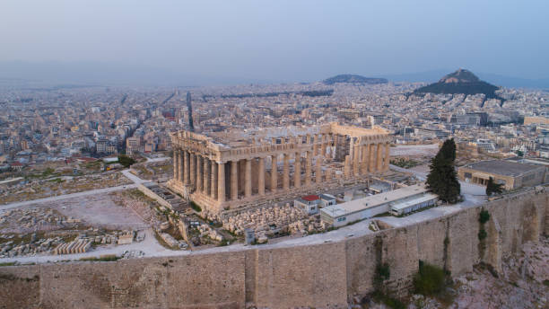 Aerial view of Acropolis of Athens ancient citadel in Greece stock photo