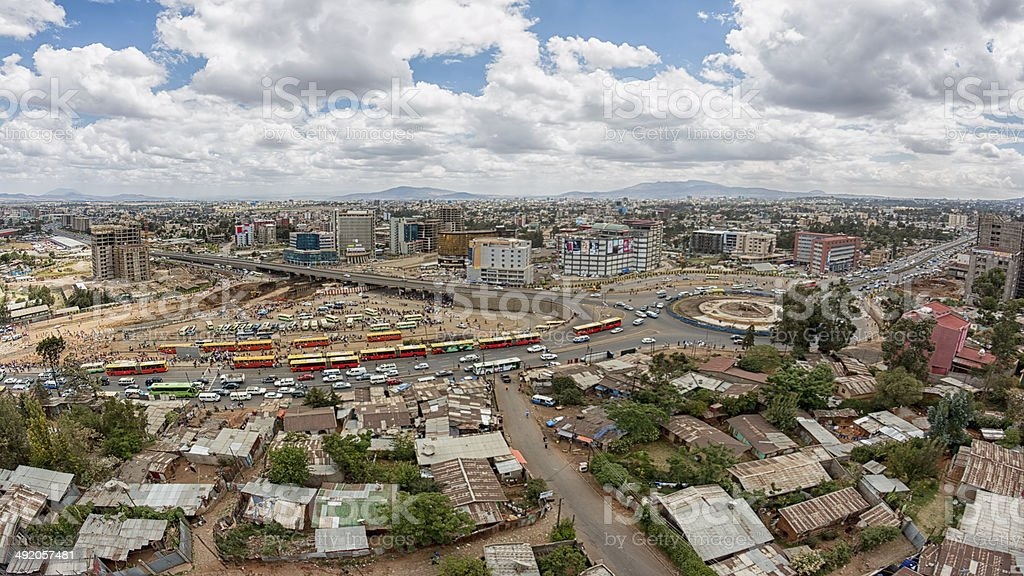 Aerial view of Addis Ababa Aerial view of the city of Addis Ababa, showing the densely packed houses Addis Ababa Stock Photo
