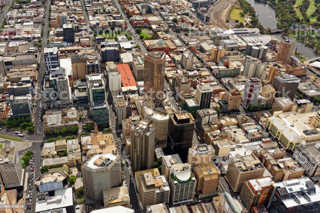 Aerial view of Adelaide CBD centre, South Australia stock photo