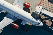 istock Aerial view of airplane at airport 1277565427