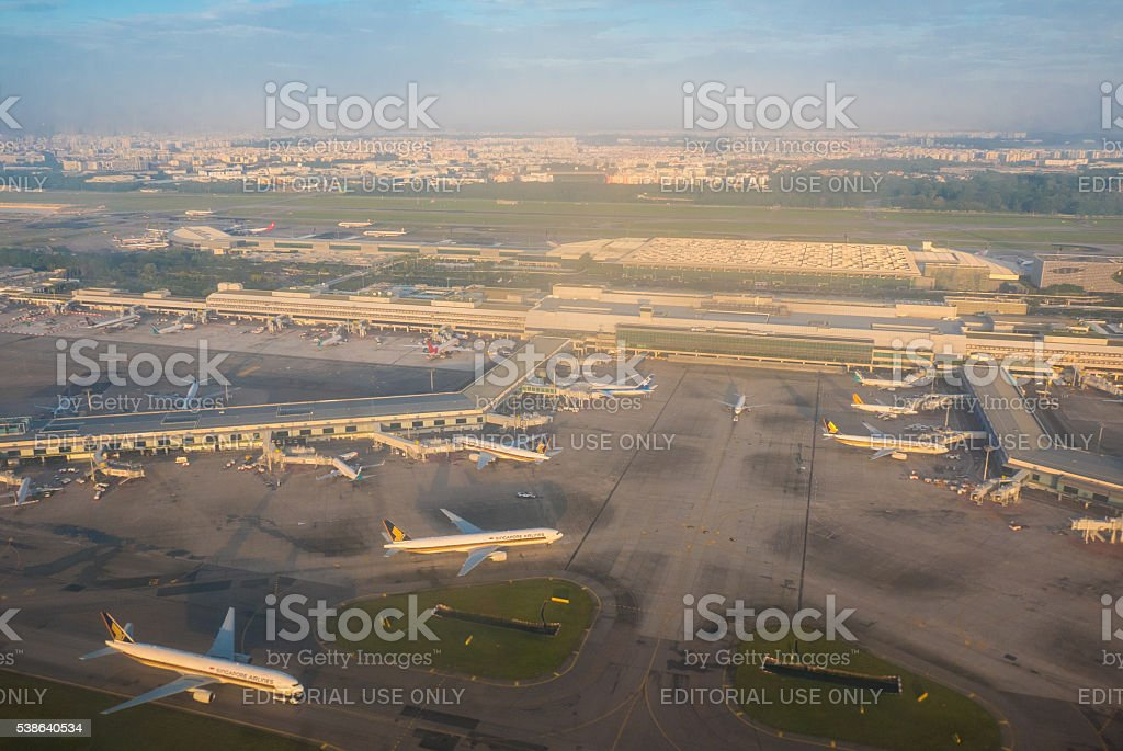 Aerial view of Airplanes at Singapore Changi Airport Internation stock photo