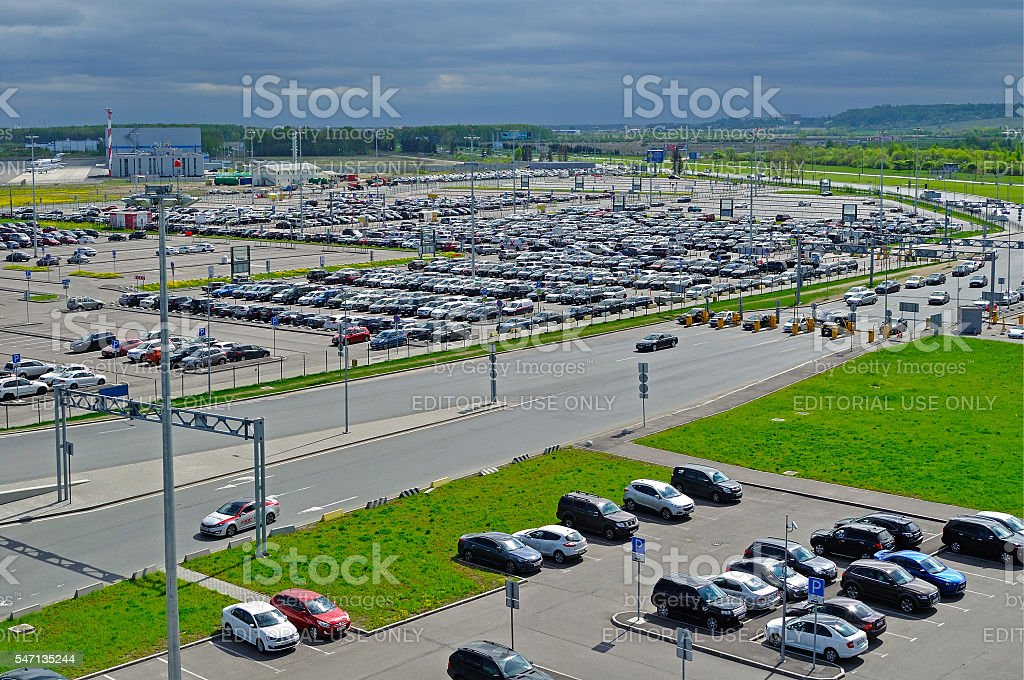 Aerial view of airport auto crowded parking lot in Pulkovo stock photo