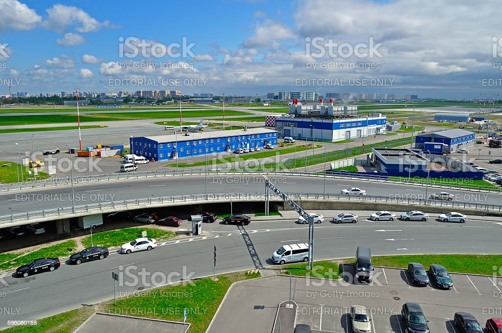 Aerial view of airport auto crowded parking lot in Pulkovo royalty-free stock photo
