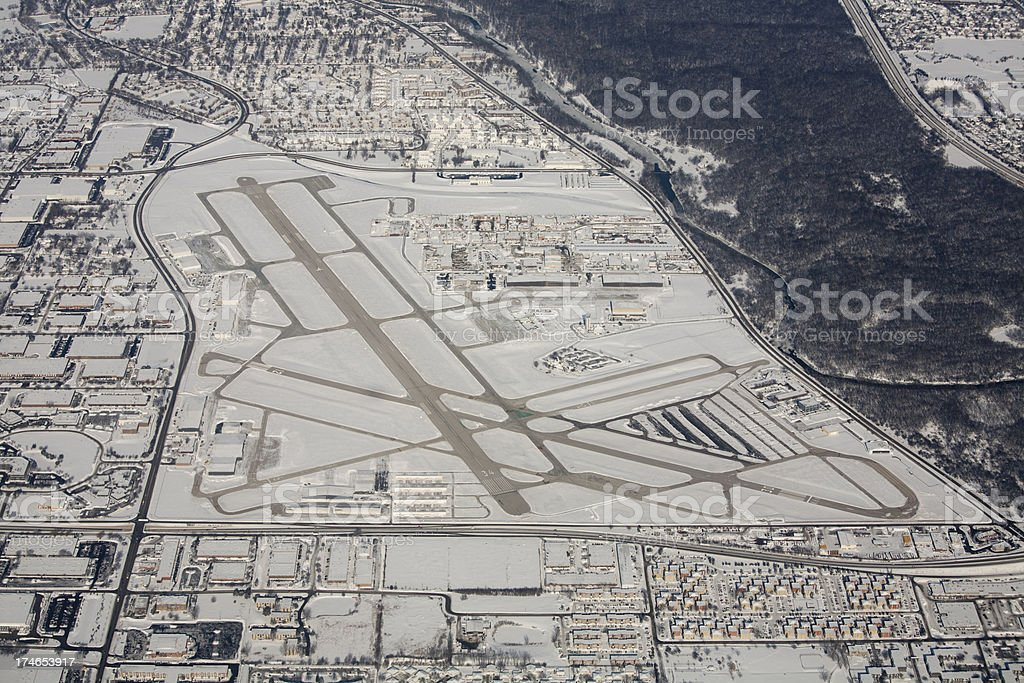 Aerial view of airport in Chicago Metro Area stock photo