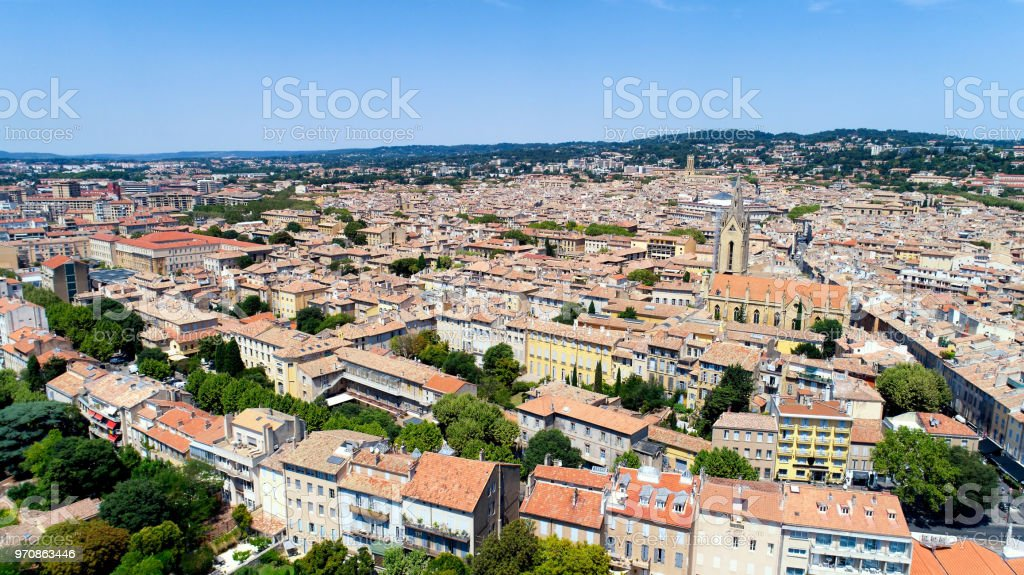 Aerial view of Aix en Provence city stock photo