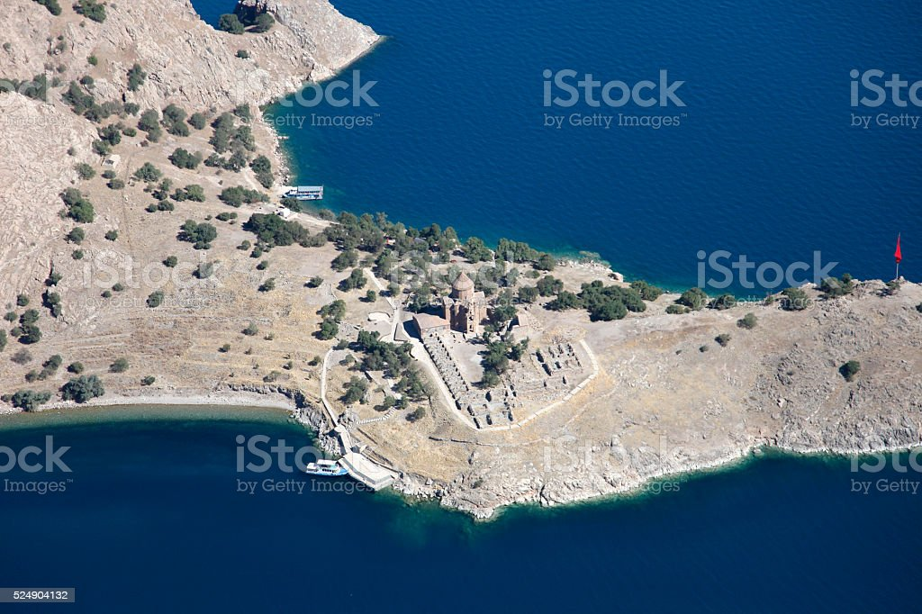 Aerial View of Akdamar Island in Van stock photo