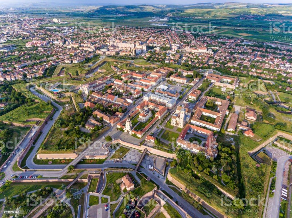 Aerial view of Alba Iulia - Alba Carolina medieval fortress stock photo