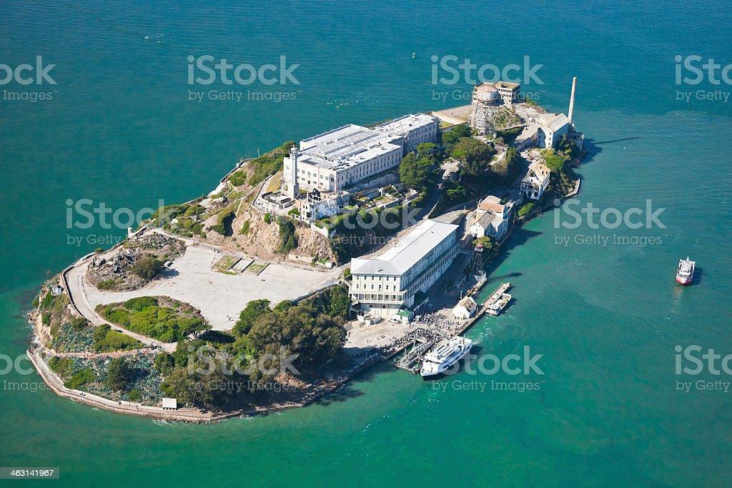 Aerial view of Alcatraz Prison in San Francisco, California stock photo