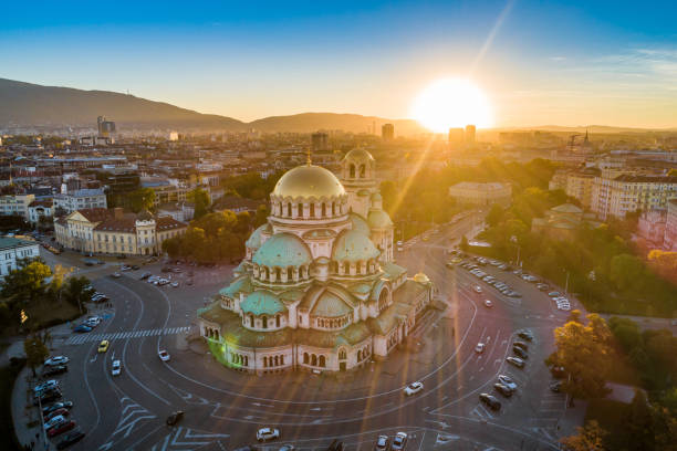 Aerial view of Alexander Nevski cathedral in Sofia, Bulgaria with setting sun Aerial view of Alexander Nevski cathedral in Sofia, Bulgaria with setting sun. The scene is situated in downtown district of Sofia, Bulgaria (Eastern Europe) during sunset. The picture is taken with DJI Phantom 4 Pro drone. bulgaria stock pictures, royalty-free photos & images