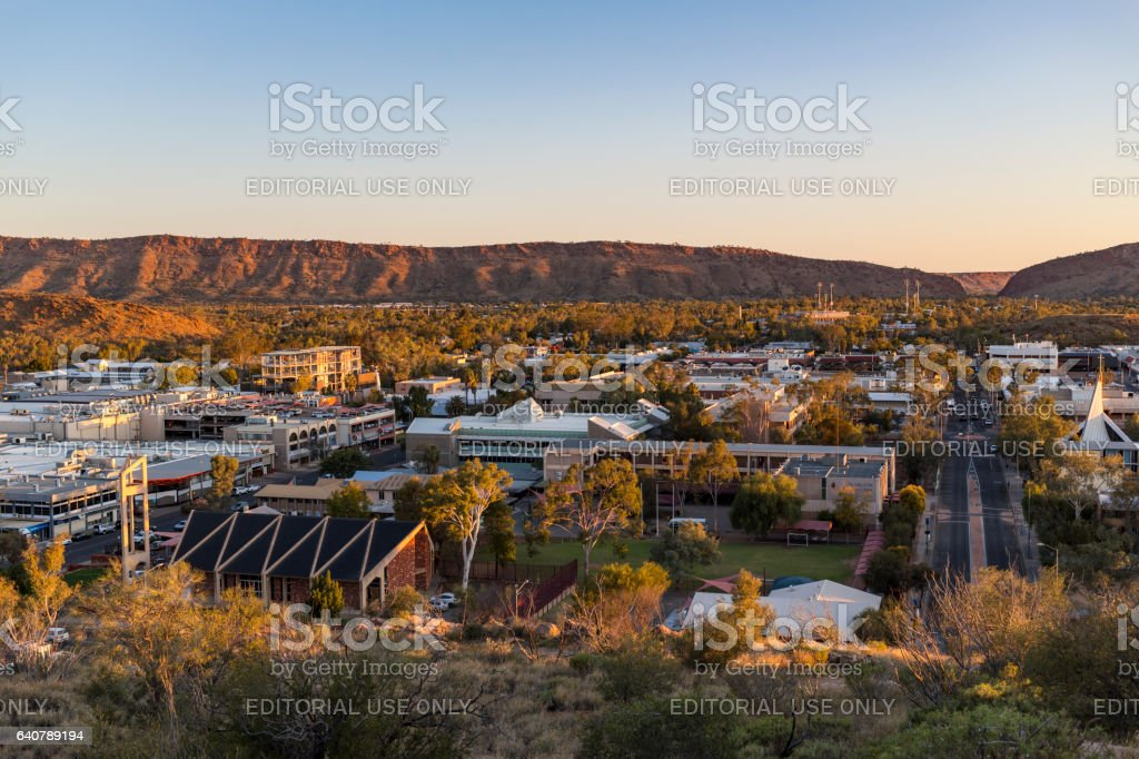 Aerial View of Alice Springs, Northern Territory, Australia stock photo