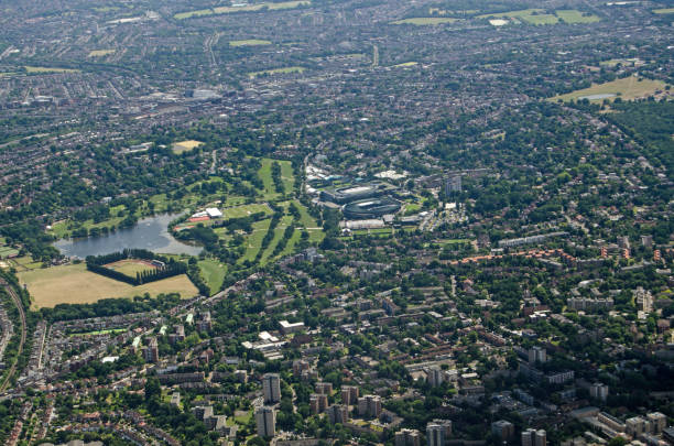 Aerial view of All England Lawn Tennis Club, Wimbledon stock photo