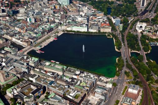 Aerial view of Alster lake at Hamburg